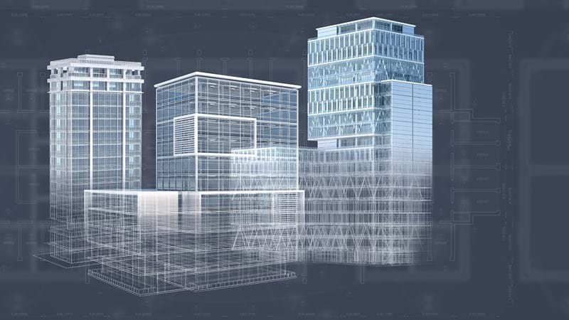 3D building model created with CAD and Building Information Management (BIM) software
