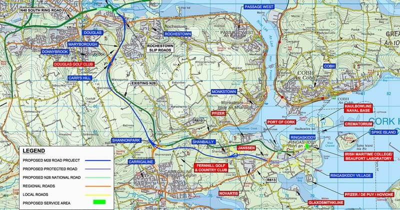 M28 Cork to Ringaskiddy map